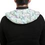 כרית חימום לצוואר, כתפיים וגב עליון מכותנה בהדפס פייזלי בגוונים של ירוק ועם מילוי טבעי שכולל פרחי לבנדר