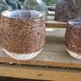סל קש קלוי חום ולבן S לשתילת צמחים עם ציפוי ניילון