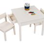 שולחן עם שני כסאות ושתי מגירות צבע שמנת