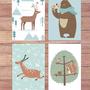 סט 4 גלויות למסגור | מארז גלויות | עיצוב הבית | חיות היער