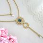 שרשרת כפולה זהב, שרשרת רומנטית, שרשרת שכבות כחולה, תכשיטים מתנה לאישה