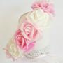 זר לראש | כתר פרחי משי | זר פרחים | עיטור ראש | חגיגה | יום הולדת | בתמצווש | קישוט | ורדים | לבן | ורוד בהיר| זר לבוק | פרום | מלאכותי