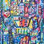 ציור של ענבר רייך, ציור צבעוני לבית ,ציור גדול לסלון, ציור לחדר ילדים, ענבר רייך ציירת, אומנות ישראלית מקורית