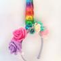 קשת חד קרן לראש | תחפושת חד קרן | זר משי פרחים | קשת לראש | קרן צבעונית | פורים | אביזרים לתחפושות | יום הולדת | קישוט | unicorn | מלאכותי