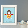 ארנב סקרן | תמונה ממוסגרת | תמונה מעוצבת לחדר ילדים | איור מקורי