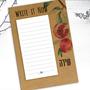 ממו הודעות ממוגנט אפור | ממו הודעות בעיצוב אישי | פנקס קניות ממוגנט | מתנה קטנה לראש השנה