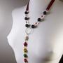 שרשרת צבים רצועות אדומות - שרשרת ארוכה - שרשרת צבעונית - שרשרת מאבנים טבעיות - שרשרת אבני חן וכסף