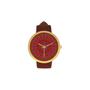 שעון אלגנט לאשה- קופסה מצופה זהב-מנגנון קווארץ MIYOTA- צמיד עור אדום