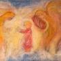 מלאכים מנגנים לילד, תמונת גלויה לילדים, כרטיס ברכה לילדים, ציור מקורי צויר בצמר