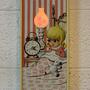 שעון קיר וינטאג׳ נדיר עם מנורה לחדר ילדים, שעון לחדר ילדים, מנורת לילה לילדה