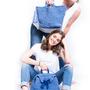 תיק סל סרוג בצבע ג'ינס
