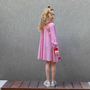 שמלת A לילדה למעבר , שמלת לורן פס אדום