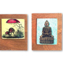 """בודהה, """"השלווה מגיעה מבפנים, אל תחפש אותה בחוץ."""" תמונה על עץ"""