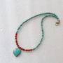 שרשרת טורקיז וקארנליאן עם תליון - שרשרת אבני חן ותליון - turquoise and carnelian necklace - שרשרת עם תליון לב