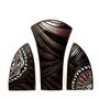 """סט 3 אגרטלים בעבודת יד. חתום. צבע חום מט בעיצוב צבעוני ושחור מבריק. מק""""ט 1171"""