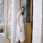 שמלה מכופתרת בלי שרוולים הדפס ליפסטיק