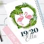 יומן שבועי אישי אופטימי עם סימנייה לשנת 2019-20 | יומן שבועי מעוצב מעוטר בציור פלמינגו, עטיפה בצבע לבן, ניתן לקבל גם | הדפסה אישית על החזית