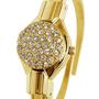 שעון תכשיט מצופה זהב 18 קראט עם מכסה מעוטר באבני סוורובסקי