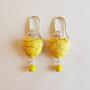 עגילי לבבות צהובים - עגילים צהובים - עגילים מעוצבים - עגילי אבני חן וכסף