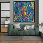 ציור של ענבר רייך, תמונה צבעונית לבית ,ציור גדול לסלון, ענבר רייך ציירת, אומנות ישראלית מקורית, הדפס בטכניקה משולבת, ציורים מקוריים .