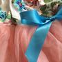 שמלת טוטו פרחונית ורוד בייבי