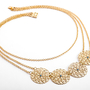 סט תכשיטי זהב לאישה, שרשרת ועגילים תואמים, מתנה רומנטית לאישה