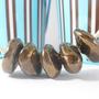 שרשרת חרוזי קרמיקה אסימטרים בגווני זהב
