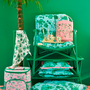 RICE DK | כרית למושב כסא בהדפס ורדים ברקע ירוק