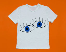 ♥♥ Back In Stock ♥♥ טי אוברסייז Blue Eyes, טישירט, טישירט אוברסייז, טישירט לבנה, טישירט מודפסת, אדומה - טישירט