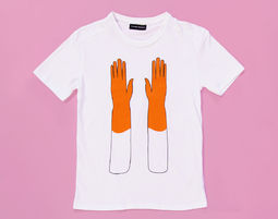טי אוברסייז Orange Gloves, טישירט, טישירט אוברסייז, טישירט לבנה, טישירט מודפסת, דפוס צהוב, הדפס צהוב, חתול - טישירט