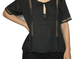 Womens Modal Short Sleeve Deep V Neck Blouse Black - Womens Shirt