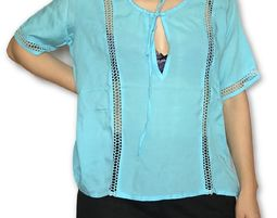 Himalayan Collective Womens Modal Short Sleeve Deep V Neck Blouse Blue - Womens Shirt