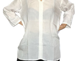 Womens V Neck Blouse with 3/4 Sleeve Casual Loose Shirt White - Womens Shirt