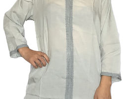 Womens V Neck Blouse with 3/4 Sleeve Casual Loose Shirt Gray - Womens Shirt