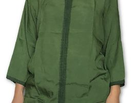 Womens V Neck Blouse with 3/4 Sleeve Casual Loose Shirt Green - Womens Shirt