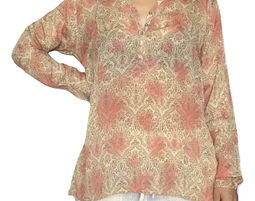 Womens Long Sleeve Henley V Neck Floral Print Blouse - Womens Shirt
