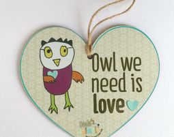 תליון לב -OWL WE NEED IS LOVE - מתנות לטו באב