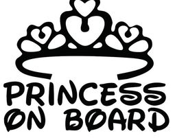 מדבקה מעוצבת לרכב עם כתר princess on board - מדבקה לרכב