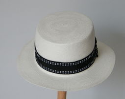 כובע פנמה לבן לקיץ WHITE BOATER HAT FOR WOMEN - כובע קש