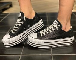 אולסטאר פלטפורמה שחור מנצנץ נשים Converse Shiny Metal Platform Black - אולסטאר פלטפורמה