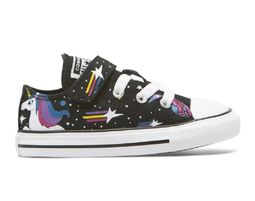 נעלי אולסטאר מעוצבים לתינוקות , חד קרן , Chuck Taylor All Star Unicorns 1V Toddler Low Top Black - Unique Shoes Bags