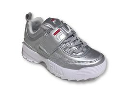 נעלי פילה לילדים בצבע כסף Disruptor II in silver - FILA Disruptor II In White
