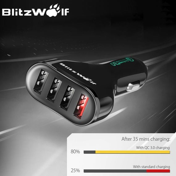 מטען מהיר ואיכותי לרכב כבל Qualcomm Certified BlitzWolf BW-C10 QC3.0 54W Power3S USB Car Charger Cable - משלוח חינם