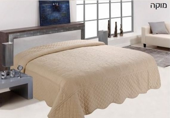 סופר כיסוי מיטה יחיד כולל ציפית לכרית מוקה | שמיכת קווילט | כיסוי ליופי RH-98