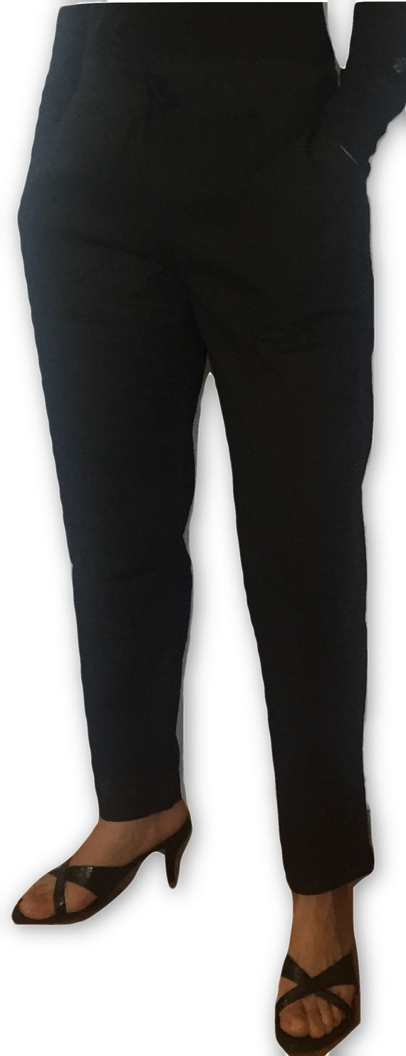 Himalayan Collective Womens Cotton Straight Leg Draw String Pants Black - Cotton Trousers